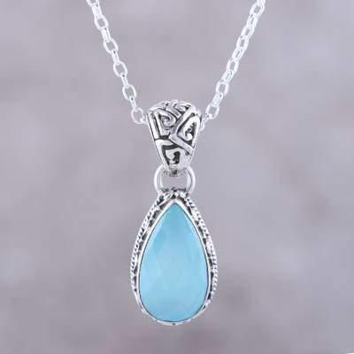 Sky Mist Teardrop Chalcedony Pendant Necklace in Aqua from India