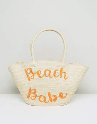 South Beach Embroidered Straw Bag