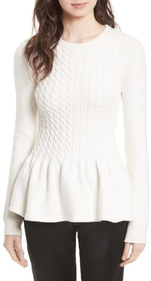 Women's Ted Baker London Mereda Cable Knit Peplum Sweater $185 thestylecure.com