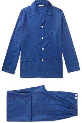 Derek Rose Cotton-jacquard Pyjama Set - Navy