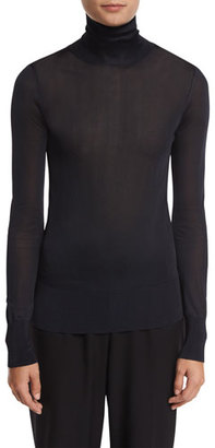 DKNY Long-Sleeve Jersey Turtleneck Top, Navy $258 thestylecure.com