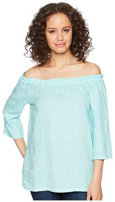 Allen Allen 3/4 Off the Shoulder Top Women's Short Sleeve Pullover
