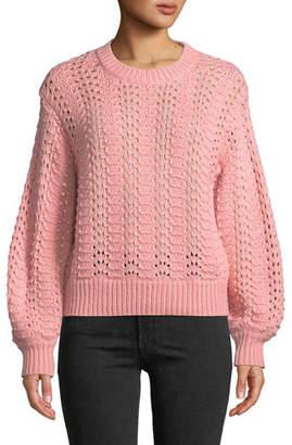 Velvet Cersei Eyelet-Knit Crewneck Sweater