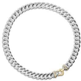 David Yurman Cable Buckle Necklace in Sterling Silver and 14K Gold