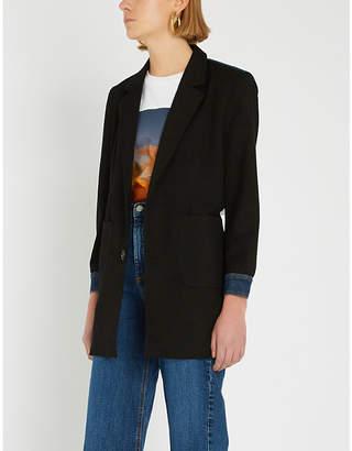 B+AB Denim-detail crepe blazer