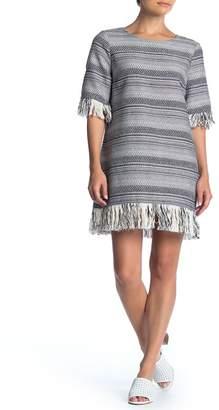 1 STATE 1.State Rustic Tweed Fringe Dress