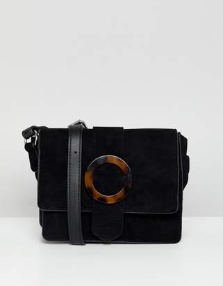New Look tortoise shell buckle cross body bag in black