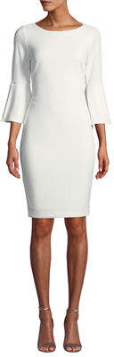 Iconic American Designer Pearlescent Bell-Sleeve Sheath Dress