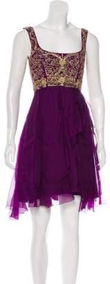 Marchesa Embellished Knee-Length Dress