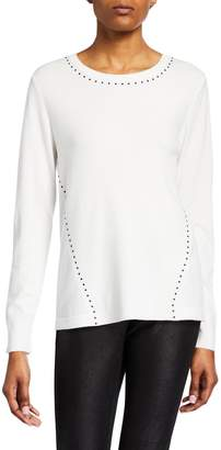 Donna Karan Long-Sleeve Studded Top