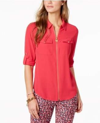 Michael Kors MICHAEL Lock Zip-Front Shirt in Regular & Petite Sizes, Created for Macy's