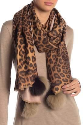 La Fiorentina Leopard Genuine Fox Fur Pompom Scarf