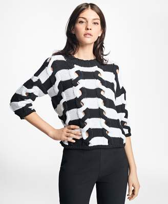 Brooks Brothers Twisted Cable-Knit Stripe Sweater