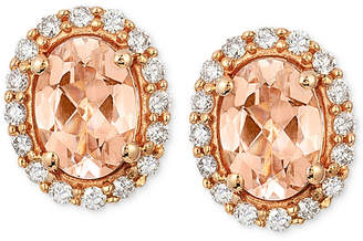 LeVian Le Vian Peach Morganite (1 ct. t.w.) and Diamond (1/4 ct. t.w.) Oval Stud Earrings in 14k Rose Gold