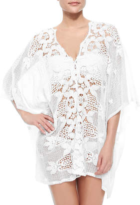 Miguelina Kara Netted/Lace Caftan Coverup