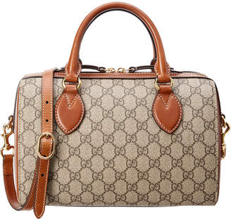 Gucci Brown Gg Supreme Canvas & Leather Boston Bag