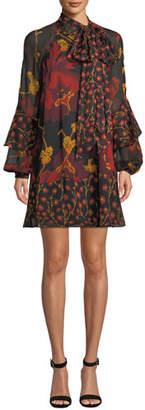 Diane von Furstenberg Effie Printed Tie-Neck Silk Cocktail Dress