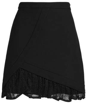 Maje Just Ruffled Lace-Trimmed Crepe Mini Skirt
