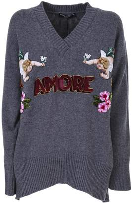 Dolce & Gabbana Cashmere sweater embellished by patch and floral embroidery