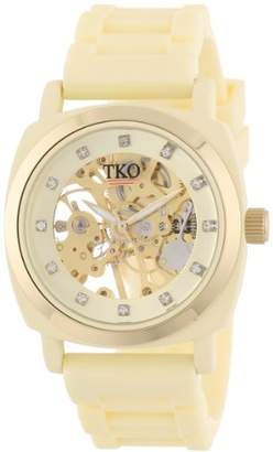 TKO ORLOGI Women's TK626CR Milano Cream Rubber Mechanical Movement Skeleton Watch
