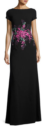 David Meister Short-Sleeve Floral Embellished Gown, Black/Pink $695 thestylecure.com