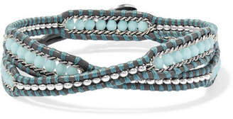 Chan Luu Crystal-embellished Leather Wrap Bracelet - Blue