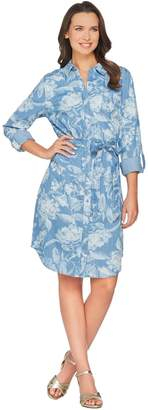 Isaac Mizrahi Live! TRUE DENIM Floral Print Shirt Dress