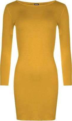 WearAll Womens Plus Size Bodycon Stretch Long Sleeve Dress Plain Top