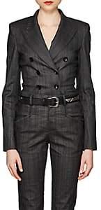 Isabel Marant Women's Kyla Pinstriped Denim Double-Breasted Blazer - Charcoal