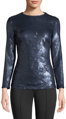 Escada Long-Sleeve Fitted Sequin Top
