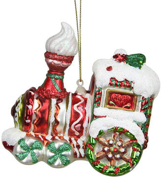 Asstd National Brand 4.25 Peppermint Twist Red White and Green Glittered Glass Candy Cane Train Christmas Ornament