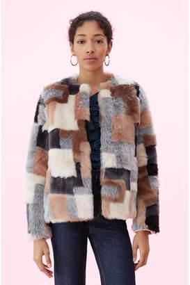 Rebecca Taylor La Vie Patchwork Faux Fur Coat