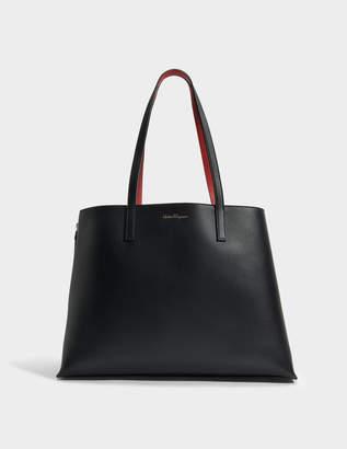 Salvatore Ferragamo Jet Set Tote Bag in Black Dolce T Leather