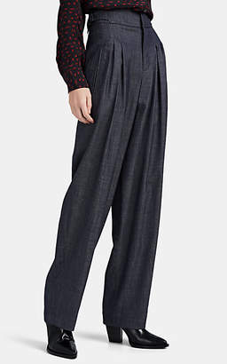 Woolmark Colovos X Prize Women's Pleated Wool-Blend Denim Trousers - Gray