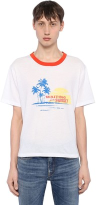 Saint Laurent Waiting For Sunset Cotton Jersey T-Shirt