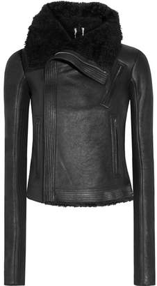 Rick Owens - Blister Shearling-trimmed Brushed-leather Biker Jacket - Black $4,415 thestylecure.com