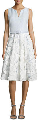 Badgley Mischka Lace-Skirt Sleeveless Cocktail Dress, Ivory Sky