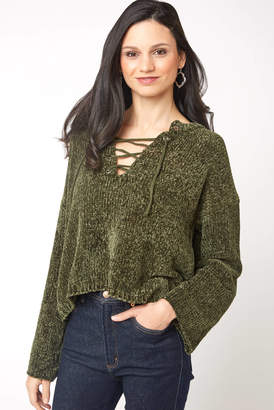 Sadie & Sage Chenille Lace Up Cropped Sweater
