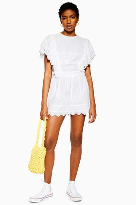 Topshop Womens Broderie Flute Sleeve Playsuit - Ivory