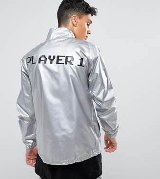Reclaimed Vintage Inspired Festival Lightweight Jacket In Silver With Player 1 Print