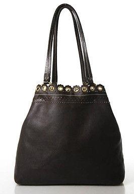 Miu MiuMiu Miu Brown Leather Gold Tone Studded Rivet Tote Handbag