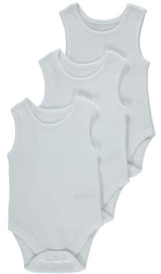 George White Plain Sleeveless Bodysuits 3 Pack