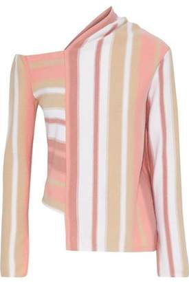 Peter Pilotto Asymmetric Striped Wool And Cashmere-Blend Sweater