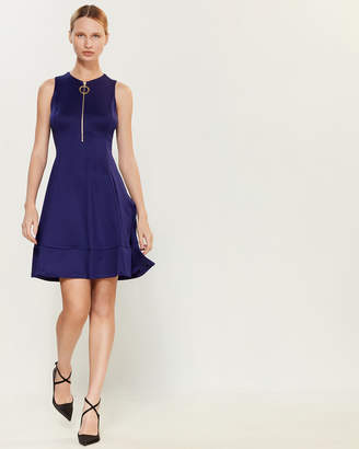DKNY Blueberry Zip-Front Scuba Dress