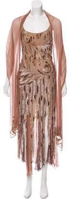 Alberto Makali Embellished Silk Dress