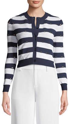 Carolina Herrera Striped Cropped Cardigan