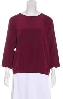 Tibi Silk Long Sleeve Top