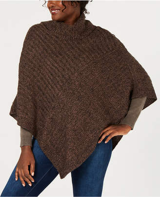Karen Scott Ribbed-Knit Cowl-Neck Poncho