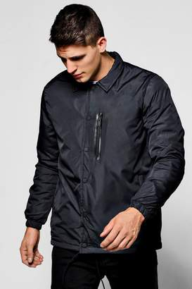boohoo Black Coach Jacket With MA1 Chest Zip