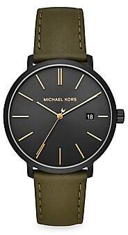 Michael Kors Blake Three-Hand Stainless Steel Green Leather Strap Watch